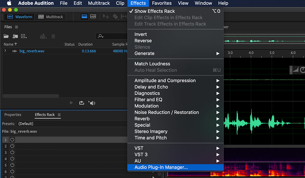 Audition audio plugin manager menu