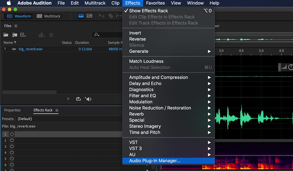 Audition audio plugin manager menu