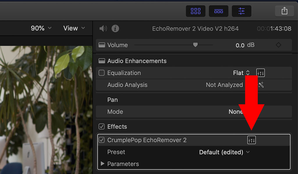 FCPX audio interface button