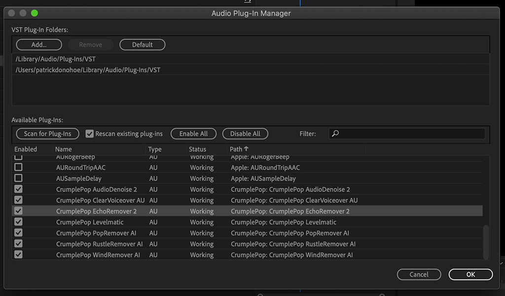 Enabling EchoRemover 2 in the Audio Plugin-in manager